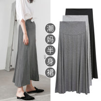 skirt Full length skirt for pregnant women have more cash than can be accounted for Versatile M,L,XL,XXL,XXXL summer Beauty of rhyme Dark grey, light grey, classic black