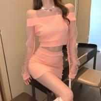 glove other Pink top black top pink skirt black skirt M L Yanman style Spring 2021