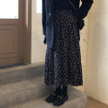 skirt Winter 2020 Average size Black flowers Mid length dress Retro Natural waist A-line skirt Decor 18-24 years old More than 95% Good girl other Other 100%