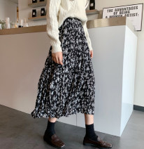 skirt Winter 2020 Average size black Mid length dress Versatile High waist Broken flowers Type A 18-24 years old More than 95% other Other 100%