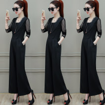 Women's large Autumn 2020 Black Royal Blue S M L XL 2XL Other oversize styles singleton  commute easy thin Conjoined Long sleeves Solid color Korean version other polyester fiber routine Chubi 30-34 years old pocket 96% and above Polyester 100% Pure e-commerce (online only) Ninth pants