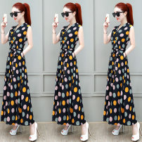 Dress Summer of 2019 White black M L XL 2XL 3XL longuette singleton  Sleeveless commute V-neck High waist Dot Socket A-line skirt routine Others 25-29 years old Type A Chubi Korean version 8CB-LDHYC19127 91% (inclusive) - 95% (inclusive) other nylon Pure e-commerce (online only)