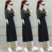 Women's large Autumn 2020 M L XL 2XL Dress Two piece set commute easy thin Socket Long sleeves Solid color Korean version Crew neck Medium length cotton routine Chubi 30-34 years old pocket 91% (inclusive) - 95% (inclusive) Medium length Cotton 93.2% polyurethane elastic fiber (spandex) 6.8% other