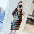 Dress Other / other Picture color M,XXL,XXXL,L,XL Korean version Short sleeve have more cash than can be accounted for summer Crew neck lattice Pure cotton (95% and above)