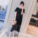 Dress Other / other Black, black skirt + grey adjustable safety pants, black skirt + Black adjustable safety pants, black skirt + white adjustable safety pants M,L,XL,XXL Korean version Short sleeve Medium length summer Crew neck Solid color Pure cotton (95% and above)