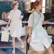 Dress Other / other White, white + skin tone safety pants M,L,XL,XXL Korean version Short sleeve Medium length summer stand collar Solid color cotton