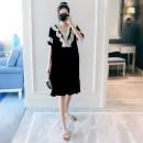 Dress Other / other Violet, black M,L,XL,XXL Korean version Short sleeve Medium length summer V-neck Solid color Pure cotton (95% and above)