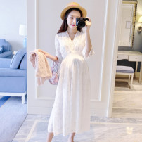 Dress Other / other White dress M,L,XL Korean version three quarter sleeve Medium length summer V-neck Solid color Lace