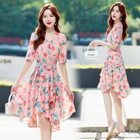 Dress Summer 2021 Mid length dress singleton  Short sleeve commute V-neck High waist Broken flowers Condom A-line skirt routine Others 30-34 years old Type A Other / other Korean version Lace up, zipper, print SMI0509 More than 95% Chiffon M,L,XL,2XL Pink, beige