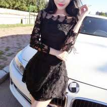Dress Autumn of 2018 White, black Average size Short skirt singleton  Long sleeves commute Crew neck High waist Solid color Socket One pace skirt routine Others 18-24 years old Type H Other / other Korean version Crochet, openwork, lace More than 95% Lace polyester fiber