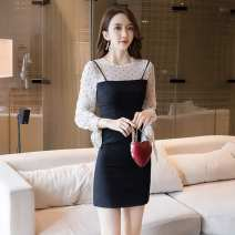 Dress Winter of 2018 Picture color S,M,L,XL Short skirt Fake two pieces Long sleeves commute Crew neck High waist Dot zipper One pace skirt routine camisole 25-29 years old Type H Other / other Korean version Bowknot, stitching, zipper X35126# More than 95% brocade polyester fiber
