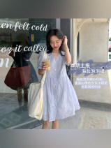 Dress Spring 2021 S,M,L,XL Short skirt singleton  Short sleeve Sweet V-neck Solid color other puff sleeve Others 18-24 years old Other / other Solid color More than 95% Chiffon other