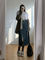 skirt Spring 2021 S,M,L Denim blue Mid length dress street Natural waist Denim skirt Solid color 18-24 years old More than 95% Denim Other / other cotton Sports & Leisure