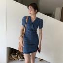 Dress Summer 2021 blue S, M Short skirt singleton  Short sleeve commute V-neck High waist Solid color Socket A-line skirt other Others 18-24 years old Other / other Korean version More than 95% other
