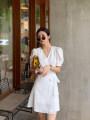 Dress Summer 2021 White, black S,M,L,XL Short skirt singleton  Short sleeve commute V-neck High waist Solid color 18-24 years old Type A Other / other Korean version Frenulum