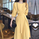 Dress Spring 2021 Yellow, apricot, violet S,M,L,XL longuette singleton  elbow sleeve commute Crew neck High waist Solid color Socket Big swing other Others 18-24 years old Other / other Korean version More than 95% other