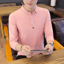 Polo shirt Other / other Youth fashion thin Khaki, white, pink, black M,L,XL,2XL,3XL Self cultivation Other leisure autumn Long sleeves A901 tide routine youth Cotton 95% polyurethane elastic fiber (spandex) 5% 2019 Solid color cotton No iron treatment Embroidery 90% (inclusive) - 95% (inclusive)