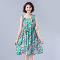 Women's large Summer 2020 M L XL 2XL 3XL Dress singleton  commute easy Socket Sleeveless Broken flowers Korean version Crew neck Medium length other routine Hanshangfiman / hanshangtiman 18-24 years old longuette Other 100% Pure e-commerce (online only)