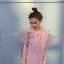 Dress Summer 2020 Pink S, M Short skirt singleton  Sleeveless Sweet One word collar Loose waist Solid color Princess Dress Princess sleeve Breast wrapping 18-24 years old Type H Gauze More than 95% other princess