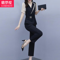 Women's large Summer 2020 Blue [short sleeve] black [short sleeve] blue [long sleeve] black [long sleeve] [small fragrance two-piece suit / foreign style / leisure fashion suit for women / small fresh two-piece suit for sweet / small dress / professional dress / suit for new women in 2020] trousers