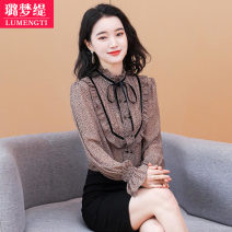 Lace / Chiffon Spring 2021 XL 2XL 3XL 4XL L Long sleeves commute Cardigan singleton  easy Regular stand collar Leopard Print Lotus leaf sleeve 25-29 years old Lumengti Z2090114 bow Korean version Other 100% Pure e-commerce (online only)
