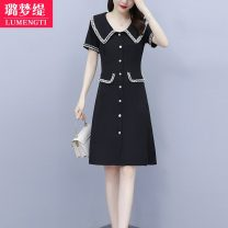Women's large Summer 2021 M [recommended 85-100 kg] l [recommended 100-118 kg] XL [recommended 120-133 kg] 2XL [recommended 135-148 kg] 3XL [recommended 150-163 kg] Dress singleton  commute easy moderate Socket Short sleeve Solid color Korean version Polo collar Three dimensional cutting routine