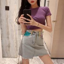 skirt Summer 2020 XXS,XS,S,M,L blue Short skirt commute High waist A-line skirt Solid color Type A 18-24 years old 9561# Denim cotton Korean version