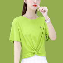 Women's large Summer 2021 Pink orange white green M L XL T-shirt singleton  commute Straight cylinder Socket Short sleeve Korean version Crew neck routine 16167TX49 First reading 18-24 years old 91% (inclusive) - 95% (inclusive) Cotton 91.2% polyurethane elastic fiber (spandex) 8.8%