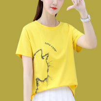 Women's large Summer 2021 White red yellow black M L XL T-shirt singleton  commute Straight cylinder Short sleeve Korean version Crew neck routine routine 16619TX49 First reading 18-24 years old 91% (inclusive) - 95% (inclusive) Cotton 93.4% polyurethane elastic fiber (spandex) 6.6%