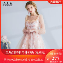 Dress Spring 2021 Pink flower S M L XL XXL Short skirt singleton  Long sleeves Sweet Crew neck High waist Decor Socket A-line skirt routine 25-29 years old Type A Alice's Fairy Tales Embroidered stitching gauze HL015CE 71% (inclusive) - 80% (inclusive) polyester fiber Polyester 80% polyamide 20%