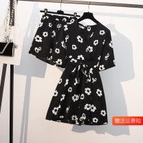 Women's large Summer 2021 Black chrysanthemum suit L (100-120 kg recommended), XL (120-140 kg recommended), 2XL (140-160 kg recommended), 3XL (160-180 kg recommended), 4XL (180-200 kg recommended) Dress Two piece set commute Self cultivation moderate Socket Short sleeve Broken flowers Korean version