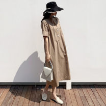 Dress Summer of 2019 Picture color S M L XL Mid length dress singleton  Short sleeve commute stand collar Loose waist Solid color Socket routine 18-24 years old Korean version More than 95% other Other 100% Pure e-commerce (online only)
