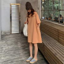 Dress Summer 2020 Orange haze blue M L XL Mid length dress singleton  Short sleeve commute Crew neck Loose waist character Socket A-line skirt routine Others 18-24 years old Type H Beautiful flower lady printing 51% (inclusive) - 70% (inclusive) polyester fiber Pure e-commerce (online only)