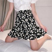 skirt Summer 2020 M L XL Short skirt commute High waist A-line skirt Decor Type A 18-24 years old More than 95% Chiffon Beautiful flower polyester fiber Zipper printing Korean version Polyester 100% Pure e-commerce (online only)