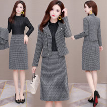 Dress Spring 2021 dark grey L,XL,2XL,3XL,4XL,5XL Mid length dress Two piece set Long sleeves commute Crew neck middle-waisted Solid color Socket One pace skirt routine Others 40-49 years old Type H Korean version zipper polyester fiber