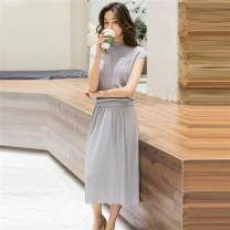 Dress Spring of 2019 Light purple, gray, yellow, Beixing thick long sleeves, light pink thick long sleeves, gray blue thick long sleeves, rattan thick long sleeves, light pink, black thick long sleeves S,M,L,XL Two piece set Short sleeve commute Crew neck High waist Solid color Socket Pleated skirt