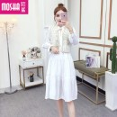 Dress Winter of 2019 White dress apricot Dress Vest Average size Middle-skirt singleton  Long sleeves commute Crew neck High waist Solid color Socket A-line skirt other Others 18-24 years old Type A Moby shark Stitching buttons MS34762# More than 95% brocade polyester fiber Other polyester 95% 5%