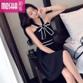 Dress Summer of 2019 black S M L XL Short skirt singleton  Sleeveless commute V-neck High waist Solid color zipper A-line skirt other Others 18-24 years old Type H Moby shark lady Open back stitching MS38936# More than 95% other polyester fiber Other polyester 95% 5% Pure e-commerce (online only)