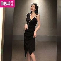 Dress Autumn of 2019 Picture color S M L Middle-skirt singleton  Sleeveless commute V-neck High waist Solid color Socket One pace skirt routine camisole 18-24 years old Type H Moby shark Korean version Hollow out asymmetry MS30296# More than 95% brocade polyester fiber Other polyester 95% 5%