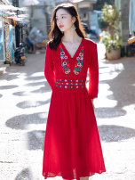 Dress Summer of 2019 Red dfl19a1712 S M L XL XXL longuette singleton  Long sleeves commute V-neck High waist Socket A-line skirt 25-29 years old Type A Deelfolian / dove ethnic style DFL19A1712 81% (inclusive) - 90% (inclusive) polyester fiber Polyester 82% polyurethane elastic fiber (spandex) 18%
