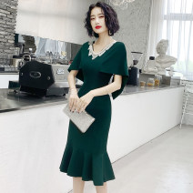Dress / evening wear Weddings, adulthood parties, company annual meetings, daily appointments XS S M L XL XXL XXXL Korean version Medium length middle-waisted Spring 2020 fish tail U-neck zipper 18-25 years old Short sleeve Solid color ULH other Other 100% Pure e-commerce (online only)