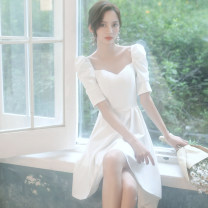 Dress / evening wear Weddings, adulthood parties, company annual meetings, daily appointments XS S M L XL XXL XXXL ULH8051 Korean version Short skirt middle-waisted Summer 2020 Skirt hem Deep collar V zipper 18-25 years old ULH8051 elbow sleeve Solid color ULH puff sleeve Other 100%