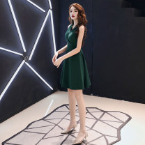 Dress / evening wear Weddings, adulthood parties, company annual meetings, daily appointments XS S M L XL XXL XXXL Green V-neck green V-neck short green belt White V-Neck red belt Korean version Short skirt middle-waisted Summer of 2019 Self cultivation Deep collar V zipper 18-25 years old ULH190617