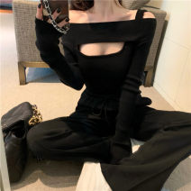 Wool knitwear Spring 2021 Average size black Long sleeves singleton  Socket other More than 95% Regular routine commute Self cultivation One word collar routine Solid color Socket Korean version YY6056 18-24 years old Yiyu Other 100% Pure e-commerce (online only)