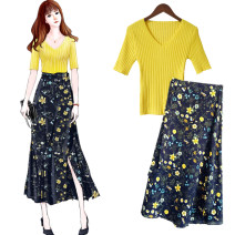 Dress Summer of 2019 Average size Mid length dress Two piece set elbow sleeve commute V-neck High waist Decor Socket A-line skirt routine Others 25-29 years old Type A Jasper tapetum Korean version Frenulum More than 95% other other Other 100% Pure e-commerce (online only)