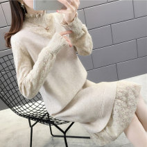 sweater Winter of 2019 Average size Beige Khaki black Long sleeves Socket Fake two pieces Medium length other 95% and above Half high collar thickening commute routine Solid color Straight cylinder Keep warm and warm 35-39 years old Jasper tapetum BST10498 Lace edge stitching Other 100%