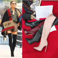 Boots 35,36,37,38,39,40 Multi material splicing Louis vicen / Louis vicen Super high heel (over 8cm) Fine heel top layer leather Over the knee Sharp point Sheepskin other Winter of 2018 Sleeve Europe and America Knights' boots Sheepskin