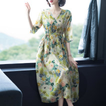 Dress Summer 2021 Watercolor M L XL 2XL 3XL longuette singleton  three quarter sleeve commute V-neck High waist Decor Socket A-line skirt routine Others 40-49 years old Type A Bai Meiwei Korean version Stitched bandage print BMW67700310 More than 95% other Other 100% Pure e-commerce (online only)
