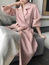 woolen coat Autumn 2020 XS,S,M,L Black, camel, light pink, Chinese red, emerald wool 95% and above Medium length Long sleeves commute Frenulum routine tailored collar Solid color Straight cylinder 25-29 years old Pocket, lace up