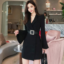 suit Winter of 2018 White, black S,M,L,XL Long sleeves Medium length Self cultivation tailored collar Single breasted commute pagoda sleeve Solid color 81% (inclusive) - 90% (inclusive) nylon Other / other
